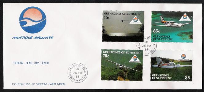 Enveloppe« premier jour» oblitérée à Bequia, en 1988.