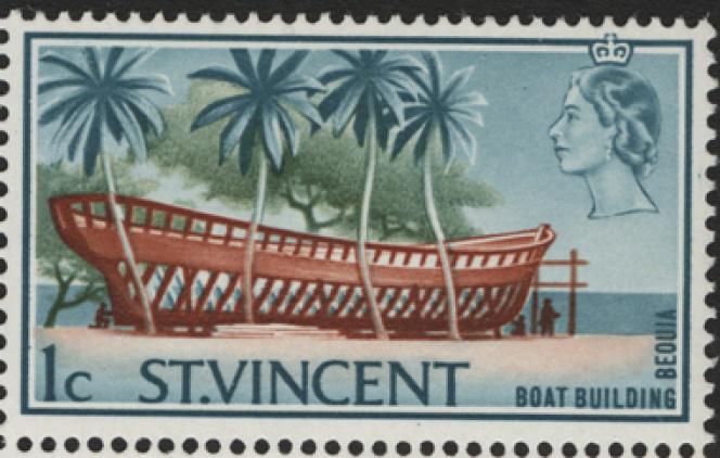 Timbre de Saint-Vincent (1965) avec une légende erronée,« Beouia» au lieu de Bequia.