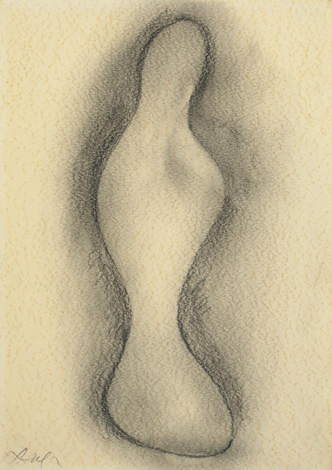 JEAN (HANS) ARP (1886-1966); Composition, «L'Entité ailée», signé Arp (en bas à gauche), fusain, graphite, frottage et estompe sur papier texturé au format 33 x 47 cm. Exécuté vers 1956-1960. Estimation: 15000-20000 euros.