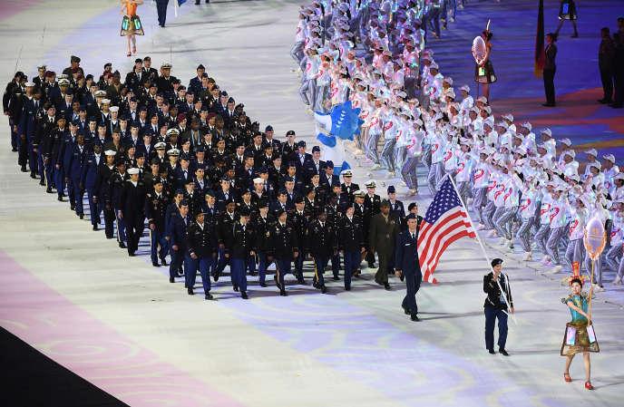 La délégation américaine, lors de la cérémonie d'ouverture de la 7ème édition des Jeux mondiaux militaires, le 18 octobre 2019 à Wuhan.