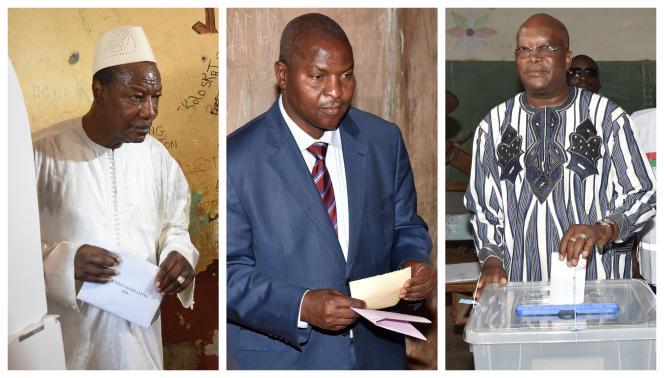 De gauche à droite, les présidents Alpha Condé (Guinée), Faustin-Archange Touadéra (Centrafrique) et Roch Marc Christian Kaboré (Burkina Faso) lors de scrutins dans leurs pays respectifs.