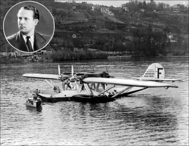 L'hydravion Latécoère Croix du Sud à bord duquel Jean Mermoz (en médaillon) a disparu au large de Dakar, le 7 décembre 1936.