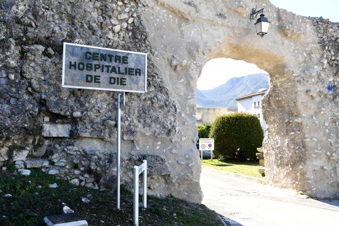 L'entrée de l'hôpital de Die (Drôme), en mars2019.