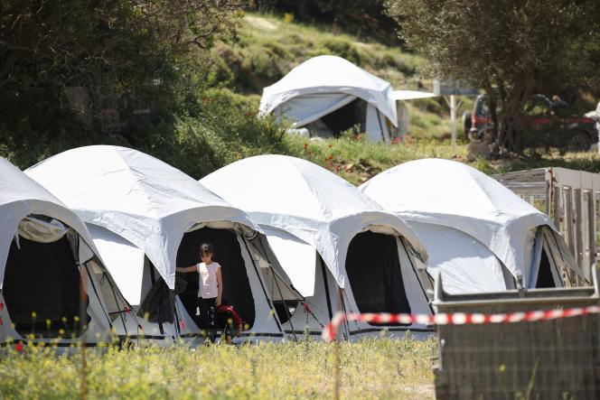 Camp de réfugiés sur l'île de Lesbos, en Grèce, le 13 mai 2020.