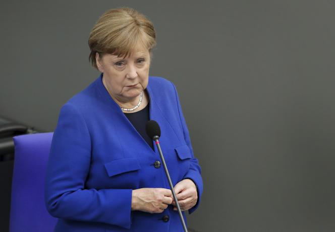 La chancelière allemande, Angela Merkel, devant le Bundestag, à Berlin, le 13 mai 2020.