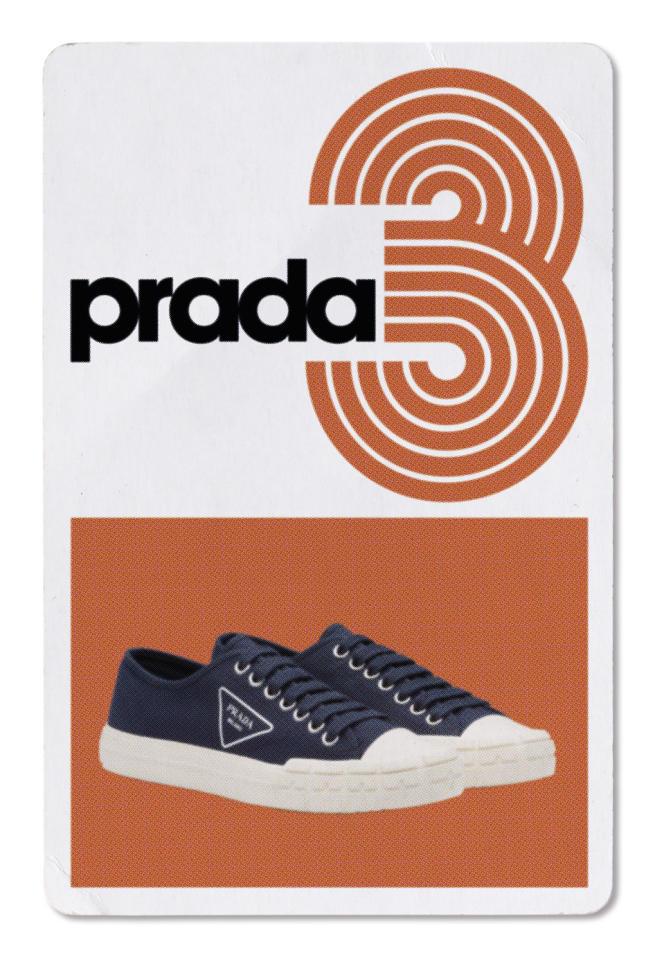 Tennis Prada Wheel en gabardine, semelle en caoutchouc, Prada, 490€.