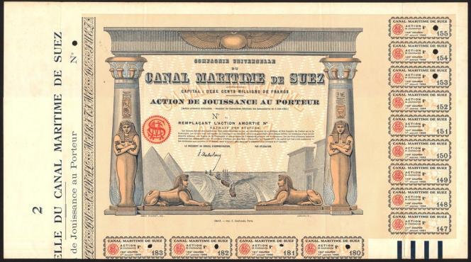 Canal maritime de Suez,« action de jouissance au porteur», 1924, 700 livres sterling (vente Spink).