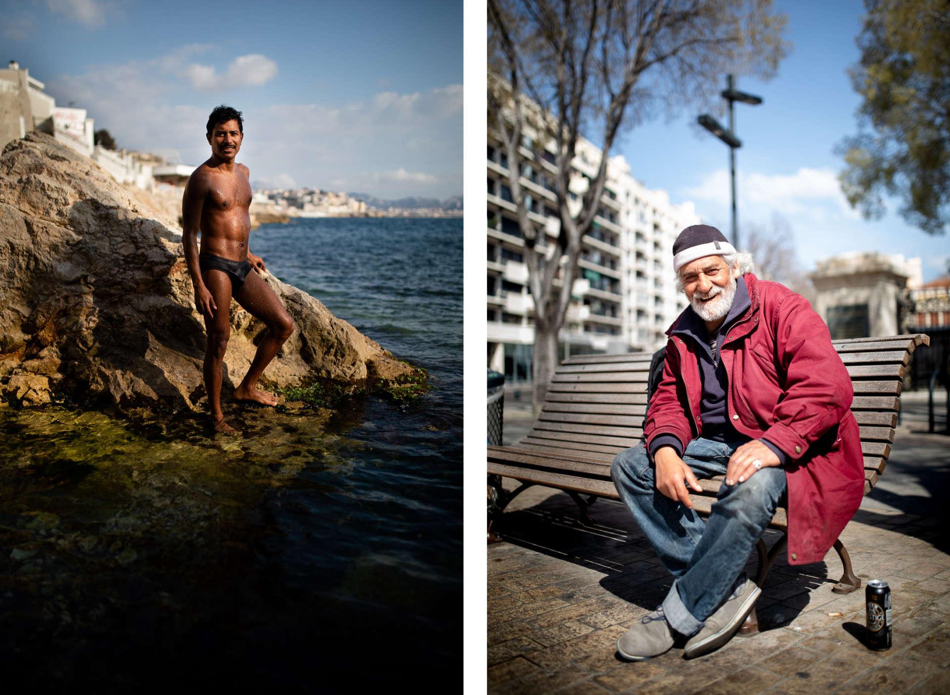 Le 21mars. Agauche, Julio: «Je viens nager ici tous les jours, toute l'année. Hier, un policier m'a dit que je pouvais nager un peu, mais pas rester lézarder au soleil.» Adroite,Saïd: «Moi, j'ai pas le choix, je n'ai pas de maison pour me confiner… Ce système est un système de merde: àMarseille, il y a plein d'appartements vacants… On demande pas une villa, juste un studio! On est totalement abandonnés.»