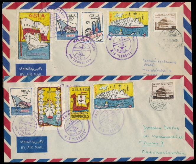Vignettes du canal de Suez sur courriers envoyés du« Lednice» (1974).