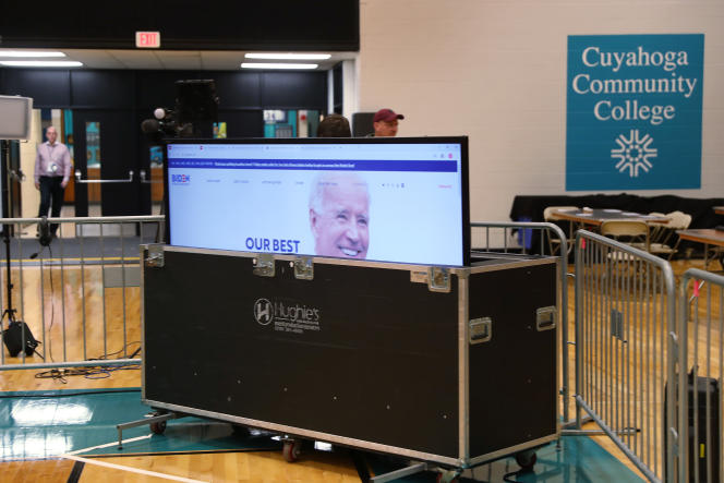 Un événement de campagne de Joe Biden annulé du fait de l'épidémie de Covid-19, à Cleveland dans l'Ohio, le 10 mars.