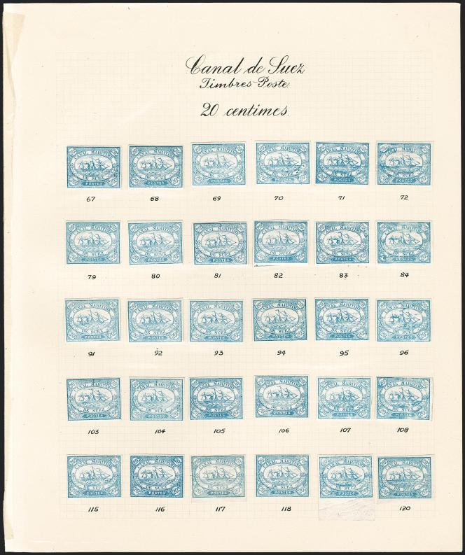 Reconstitution d'une feuille de timbres (20 centimes bleu) de la Compagnie maritime du canal de Suez (Robert A. Siegel). Estimation 5000/7500 dollars (2018).