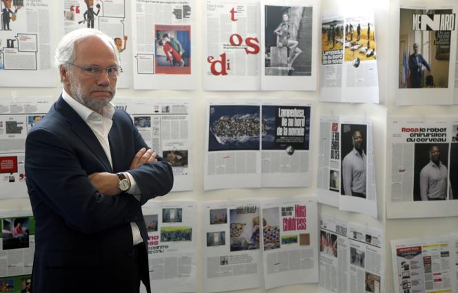 Laurent Joffrin, directeur de la publication de «Libération», dans les anciens locaux de la rédaction, à Paris, en mai 2015.