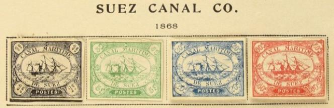 Les quatre valeurs de la série émise en 1868 par la compagnie maritime du canal de Suez.