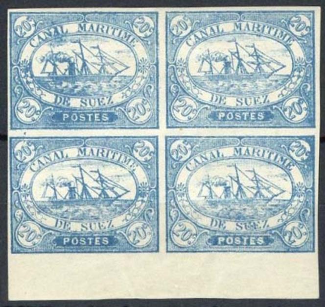Bloc de quatre du 20 centimes bleu.