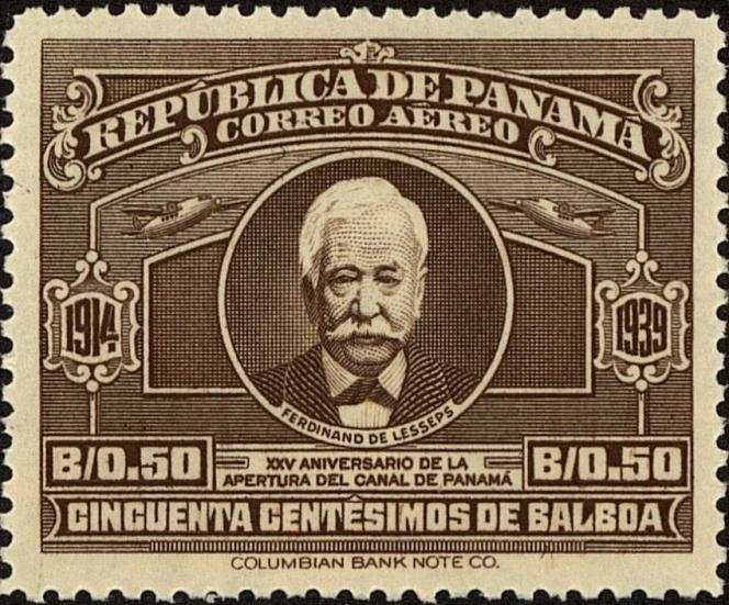 Timbre de Panama (1939) à l'effigie de Ferdinand de Lesseps.