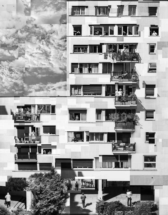 Collage réalisé du 20 mars jusqu'au 10 mai, dans le 17e arrondissement à Paris. Durant deux mois, il y a eu du monde au balcon. La vie s'est jouée sur une façade. Deux mois compressés où des morceaux de quotidien qui se ressemblent, s'assemblent.
