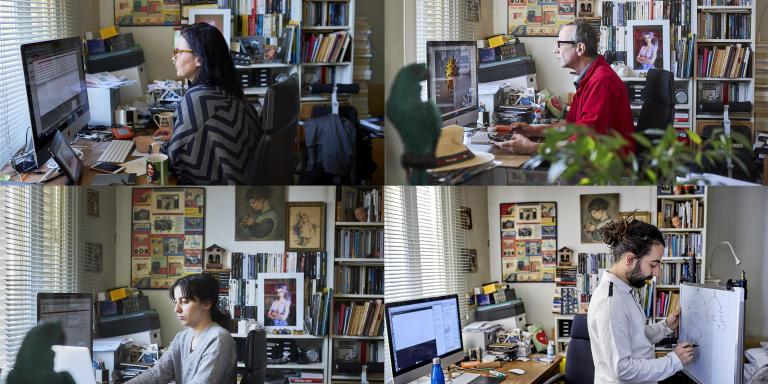 Teletravail sur un ordinateur partagé dans une famille à Paris durant le confinement