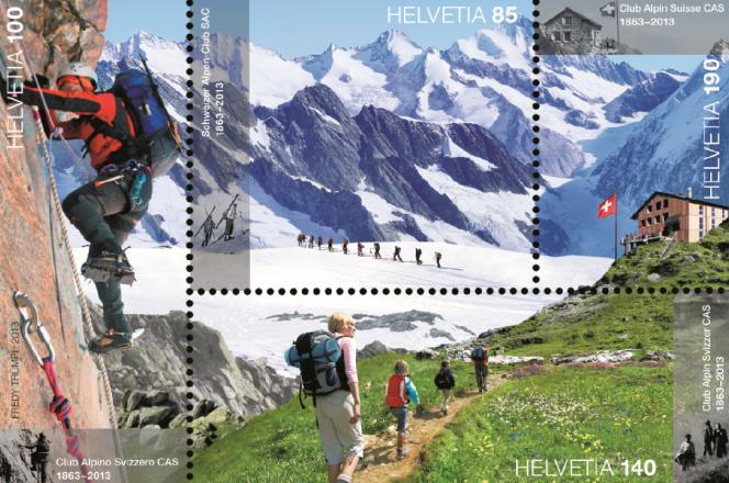 Timbre émis en 2013 pour le 150e anniversaire du Club alpin suisse.