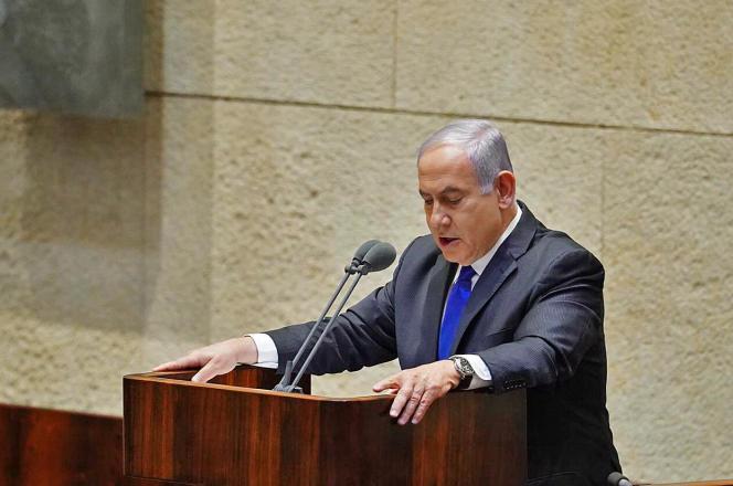 Le premier ministre israélien, Benyamin Nétanyahou, lors de son discours devant la Knesset, dimanche 17 mai.