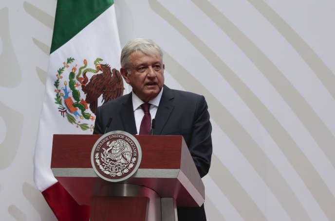 Le président mexicain Andres Manuel Lopez Obrador, au Palais national de Mexico, le 5 avril 2020.