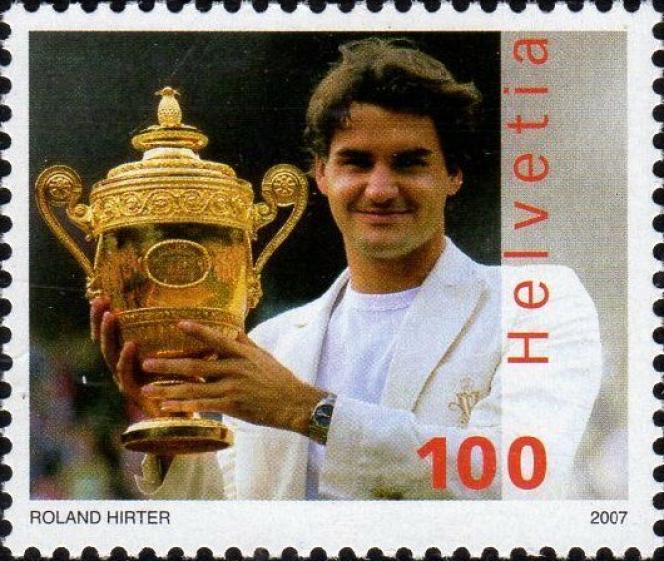 Le joueur de tennis suisse Roger Federer, timbré en 2007.