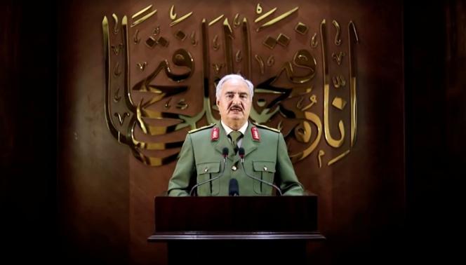 Une capture d'écran d'une vidéo, publiée le 27 avril, du maréchal Khalifa Haftar.