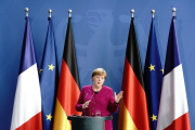 Angela Merkel lors de la conférence de presse qui a suivi la vidéo-conférence avec Emmanuel Macron, le 18 mai, à Berlin.