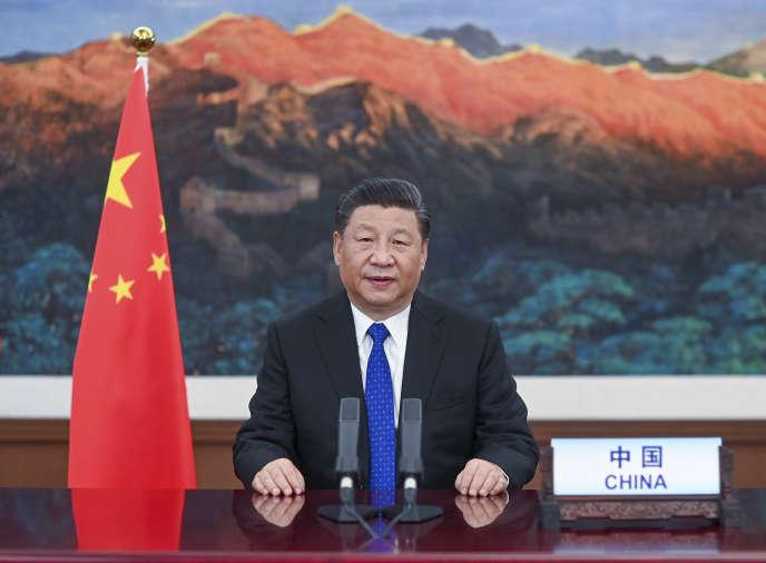 Le président chinois Xi Jinping prononce un discours lors de l'ouverture de la 73e Assemblée mondiale de la santé, le18 maià Pékin.