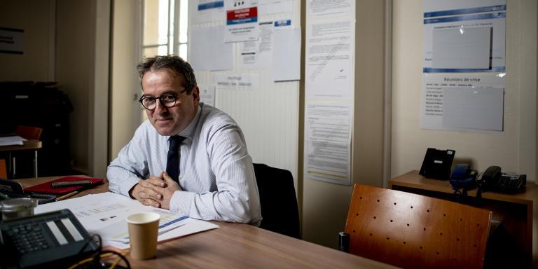 Martin Hirsch, directeur général de l'Assistance publique - Hôpitaux de Paris dans au siège de l'APHP  Le 13 mars 2020.