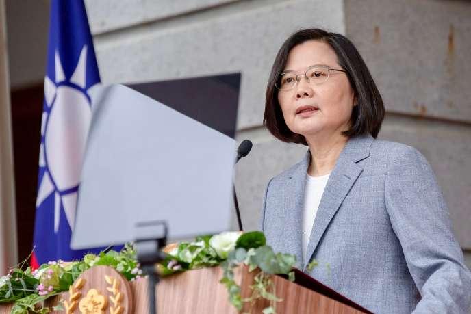 La présidente taïwanaise Tsai Ing-wen s'exprime lors de l'inauguration de son deuxième mandat, à Taipei, le 20 mai.