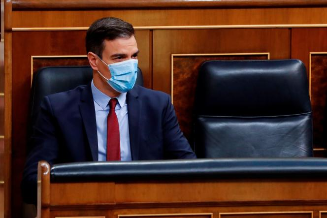 Le président du gouvernement espagnol, Pedro Sanchez, à la chambre basse du Parlement, le 20 mai.