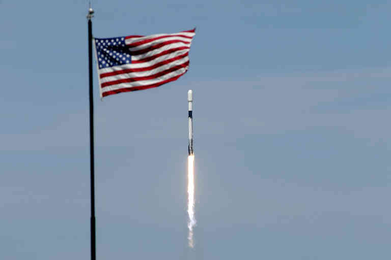 A Falcon 9 SpaceX rocket with the seventh batch of approximately 60 satellites for SpaceX's Starlink broadband network. lifts off from pad 39A at the Kennedy Space Center in Cape Canaveral, Fla., Wednesday, April 22, 2020. (AP Photo/John Raoux)