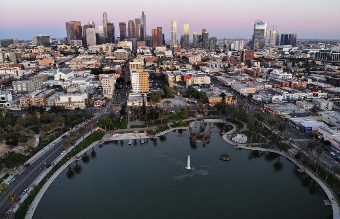 Vue aérienne surLos Angeles, le 15 avril.