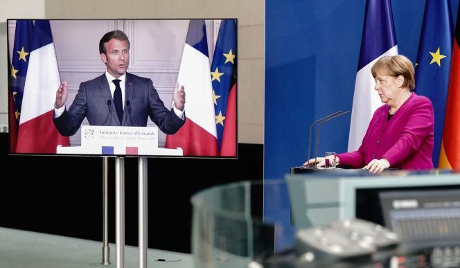 Le président français Emmanuel Macron et la chancelière allemande Angela Merkel, en conférence de presse commune, le 18 mai à Berlin.