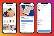 Capture d'écran d'un espace« Shops» sur l'application Instagram montrant le catalogue, une page produit et une page de paiement.
