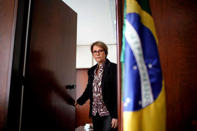 Tereza Cristina, dans son bureau du ministère de l'agriculture, à Brasilia, le 18janvier2019.