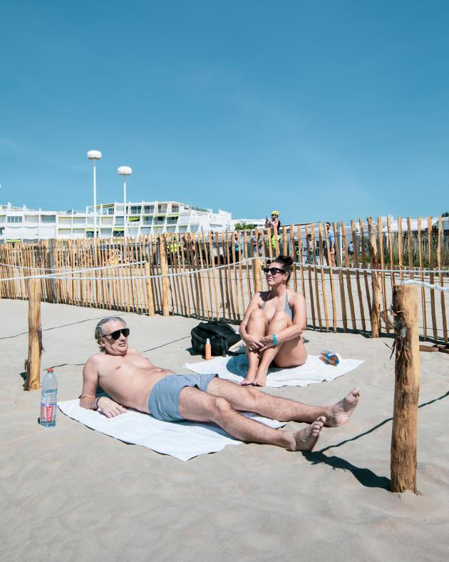 Didier et Chloé à la plage du Couchant, à La Grande-Motte, le 21mai.