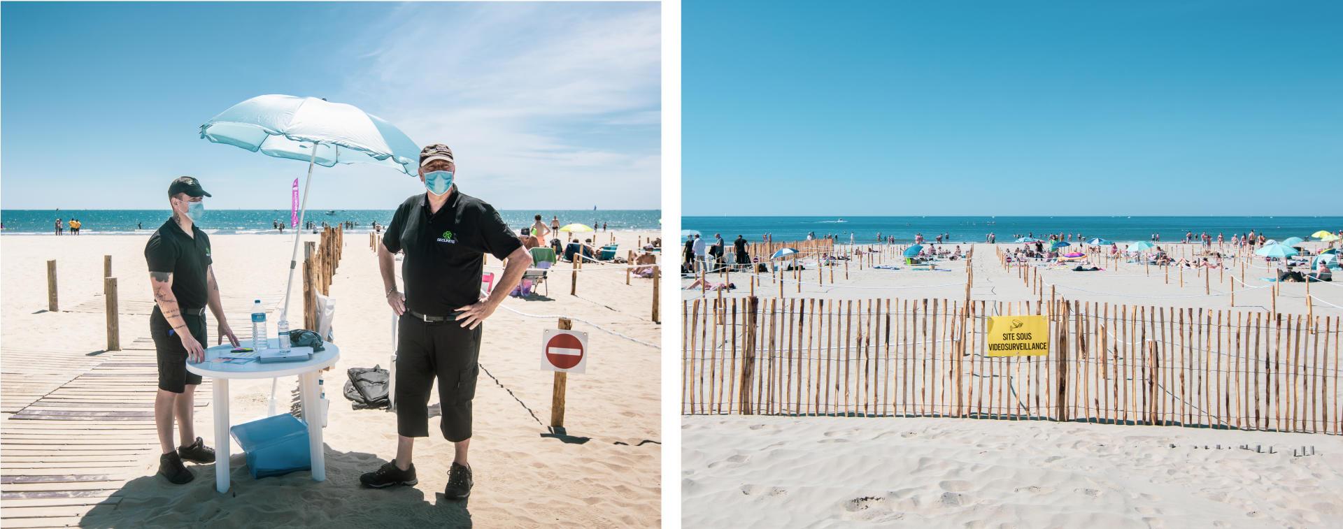 Premier jour d'ouverture du dispositif de la «plage statique», permettant aux plagistes de se baigner et de rester sur le sable à l'intérieur d'un emplacement délimité. Trois agents de sécurité et une caméra de vidéosurveillance assurent le bon déroulement des activités.