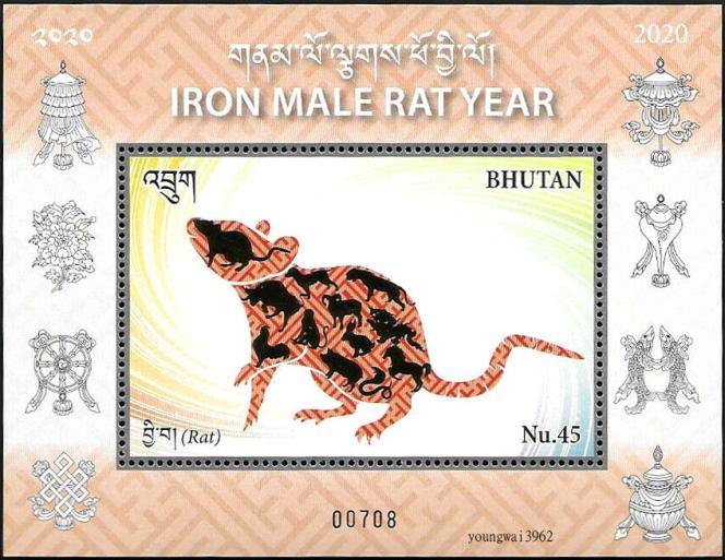 Bloc-feuillet récent, paru en 2020 au Bhoutan sur l'année du rat.