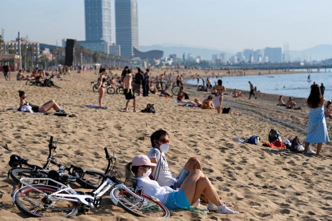 Une plage de Barcelone, en Espagne, le 22 mai 2020.