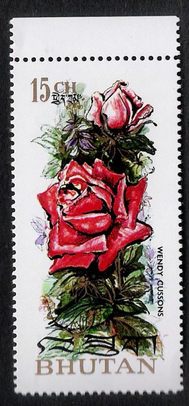 Timbre imprimé sur du papier parfumé à l'origine à la rose paru en 1973... Parfum éventé depuis!