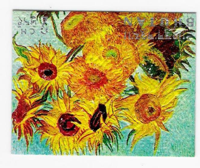 Timbre en carton, en relief, d'après Van Gogh (1970).