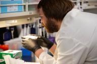 Test en laboratoire pour évaluer l'efficacité de l'hydroxychloroquine pour traiter le Covid-19, à Minneapolis (Minnesota), le 19 mars.