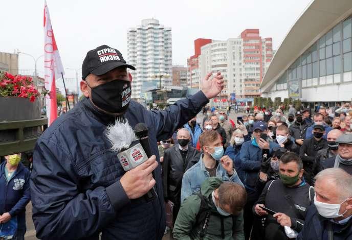 Le blogueur et opposant bielorusseSergueï Tikhanovski, le 24 mai à Minsk.