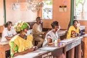 Un bureau de vote dans une école primaire à Cotonou, au Bénin, le 17 mai.