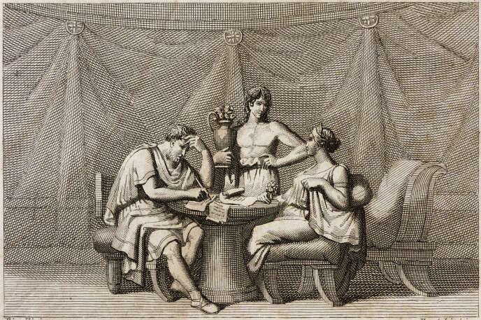 Marc Aurèle, écrivant des conseils philosophiques à son fils, et sa femme, Faustine, tiré de L'Histoire des empereurs romains, 1837.