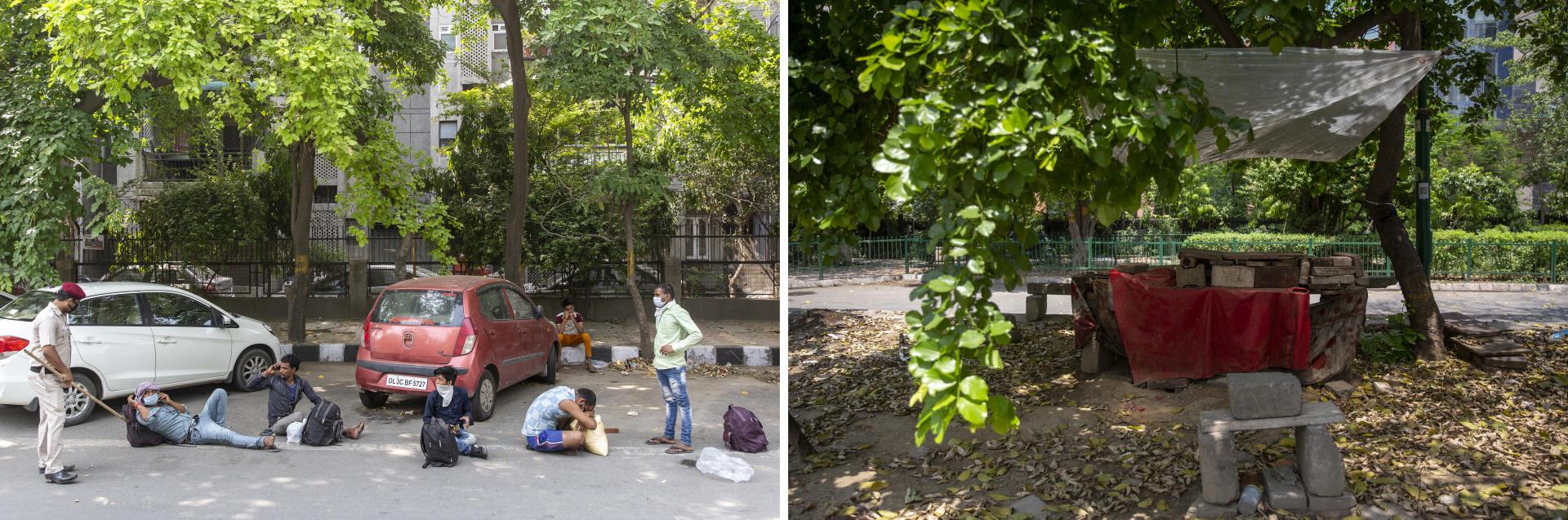 New Delhi, le 18 mai. Les travailleurs attendent, parfois sous 40 degrès, d'être enregistrés pour obtenir une place dans un bus ou un train afin de regagner leur domicile (à gauche). Un commerce de rue laissé à l'abandon après l'annonce du confinement (à droite).