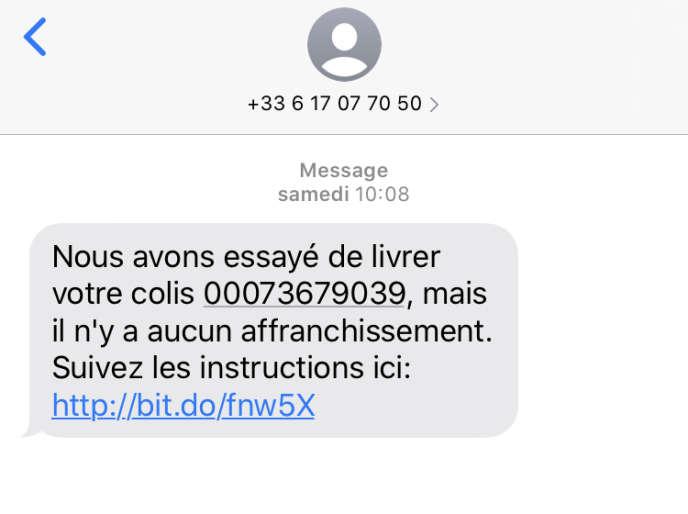 Un exemple de message texte envoyé contenant un lien.