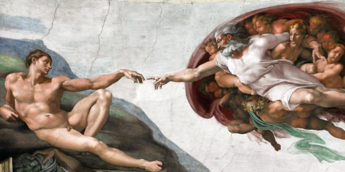 La création d'Adam, par Michel-Ange, chapelle Sixtine, XVIe siècle.
