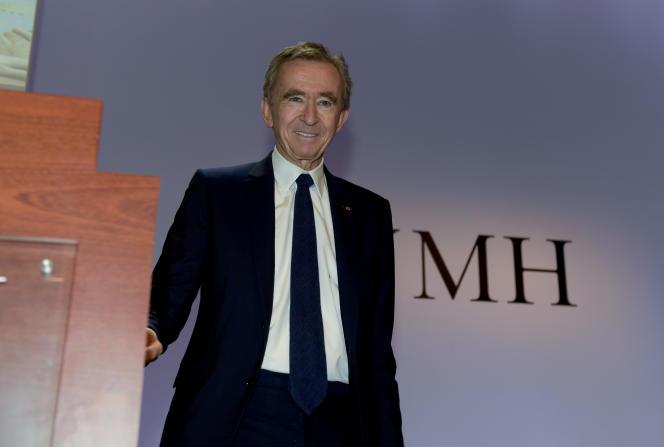 Bernard Arnault lors de l'annonce du bilan 2019 de LVMH, au siège du groupe à Paris, le 28 janvier.
